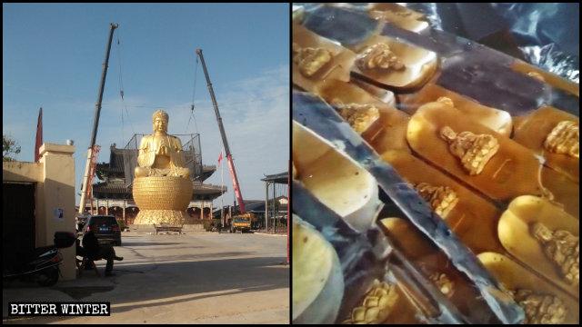 Tỉnh Hồ Bắc phá hủy hàng loạt các tượng phật ở các đền thờ