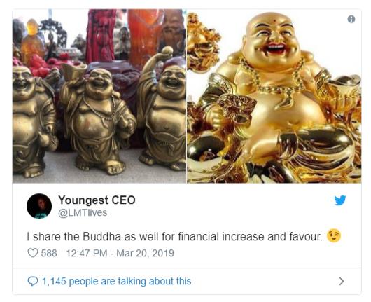 Tượng Phật Di Lặc cười hiện đang là xu hướng trên Twitter với hơn 14.000 tweet, đề tài hot ở Nigeria.